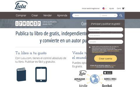 Screenshot of Home Page lulu.com - Publica tu libro independientemente de gratis en línea en Lulu.com - captured July 15, 2017