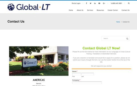 Screenshot of Contact Page global-lt.com - Contact Global LT - Reach out now for Language Training or Cross-Cultural Training - captured Dec. 8, 2018