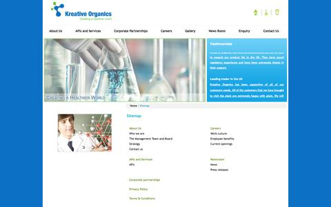 Screenshot of Site Map Page kreativeorganics.com - Sitemap - Kreative Organics - captured Oct. 6, 2014