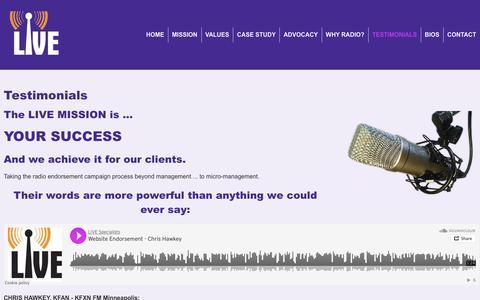 Screenshot of Testimonials Page livespecialists.com - Testimonials | Peter Connolly LIVE - captured Sept. 29, 2018