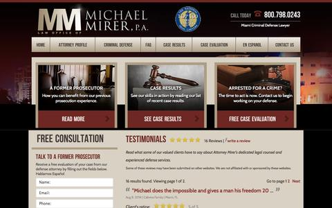 Screenshot of Testimonials Page mirerlaw.com - Testimonials | Criminal Defense Attorney Miami - captured Oct. 2, 2014