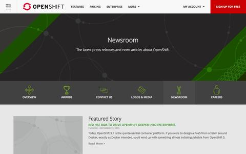 Screenshot of Press Page openshift.com - OpenShift Newsroom - captured Jan. 13, 2016