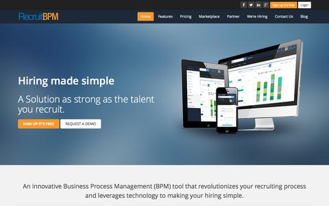 Screenshot of Home Page recruitbpm.com - Free Applicant Tracking System and CRM | RecruitBPM ATS & CRM - captured June 12, 2017