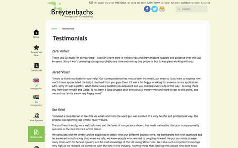 Screenshot of Testimonials Page bic-immigration.com - Testimonials - captured Sept. 19, 2014