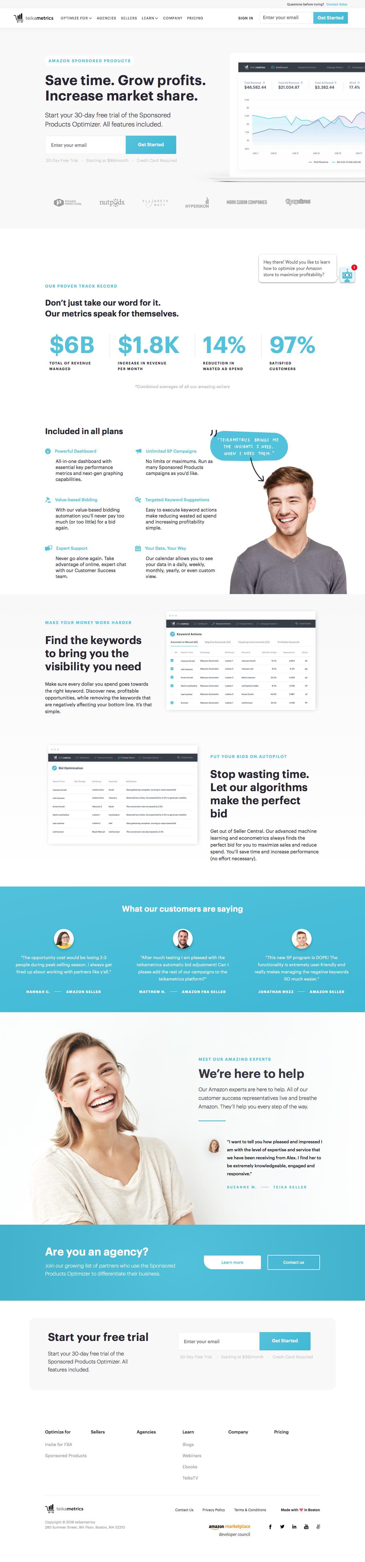 Screenshot of teikametrics.com - Start increasing your sales profitability | Teikametrics - captured June 18, 2018