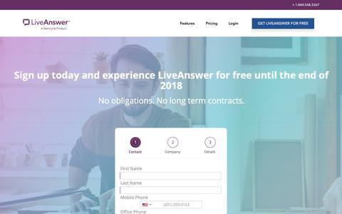 Screenshot of Signup Page liveanswer.com - Sign Up - LiveAnswer - captured Nov. 2, 2018