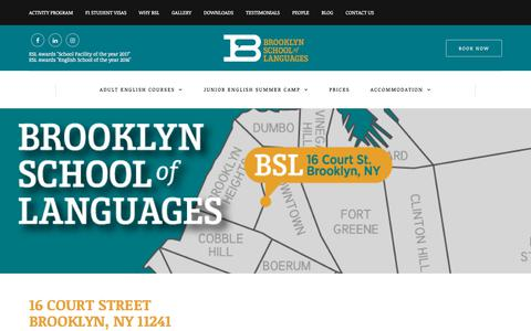 Screenshot of Contact Page brooklynschooloflanguages.com - BSL - Contact Us - captured Aug. 4, 2018