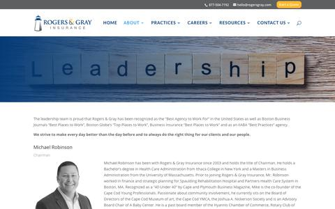 Screenshot of Team Page rogersgray.com - Leadership | Top Insurance Agency in MA  | Rogers & Gray - captured July 7, 2018
