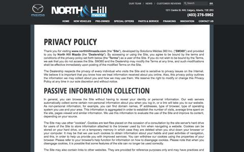 Screenshot of Privacy Page northhillmazda.com - Confidentiality politics of North Hill Mazda in Calgary - captured Oct. 26, 2017