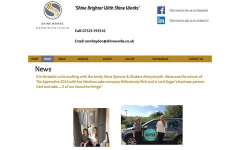 Screenshot of Press Page shineworks.co.uk - Shine Works | Customer Service Training And Business Coaching | NEWS - captured Nov. 5, 2017