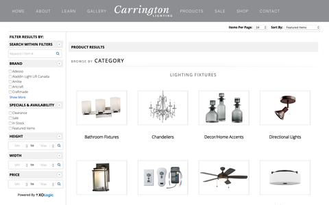 Screenshot of Products Page carringtonlighting.com - Catalog | CARRINGTON LIGHTING - captured Dec. 7, 2018