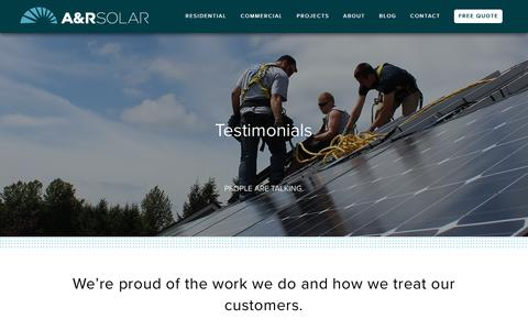 Screenshot of Testimonials Page a-rsolar.com - Customer Reviews & Testimonials | A&R Solar - captured May 26, 2017