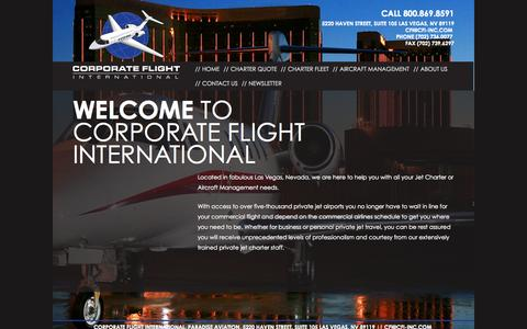 Screenshot of Home Page cfi-inc.com - Home - Corporate Flight International Inc. - captured Oct. 3, 2014