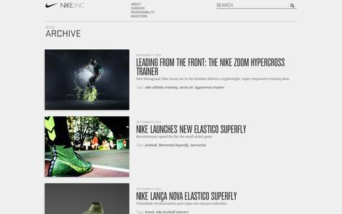 Screenshot of Press Page nikeinc.com - NIKE, Inc. - News Archive - captured Sept. 18, 2014