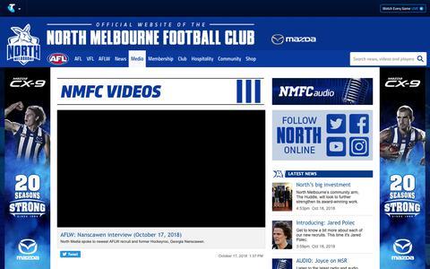 Screenshot of Press Page nmfc.com.au - Videos - NMFC.com.au - captured Oct. 18, 2018