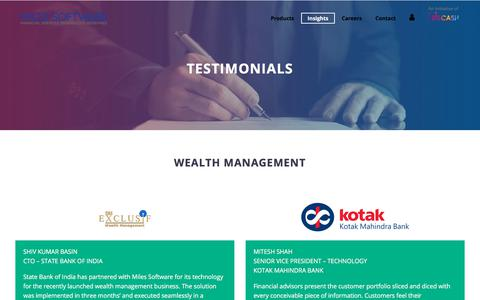 Screenshot of Testimonials Page milessoft.com - Miles Software | Insights | Testimonials - captured Sept. 22, 2018