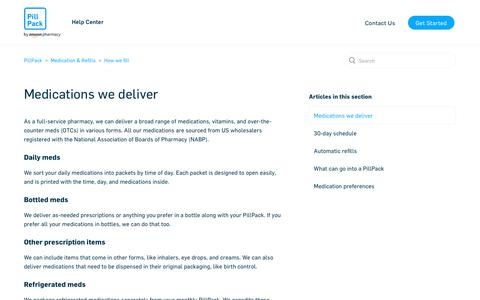 Screenshot of Support Page pillpack.com - Medications we deliver – PillPack - captured Jan. 23, 2020