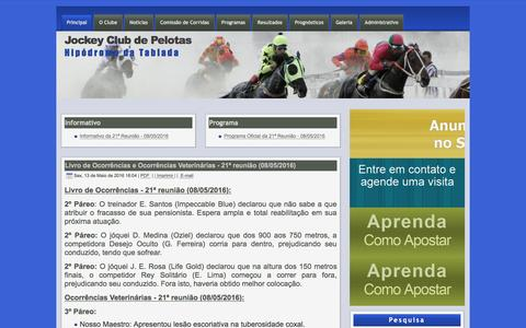 Screenshot of Home Page jcpelotas.com.br - Jockey Club de Pelotas - captured May 13, 2016