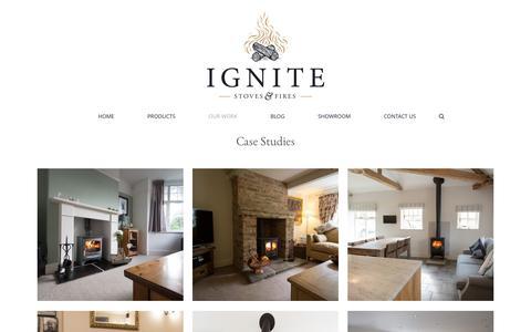 Screenshot of Case Studies Page ignitestoves.com - Ignite Stoves & Fireplaces     Case Studies - captured Nov. 25, 2016