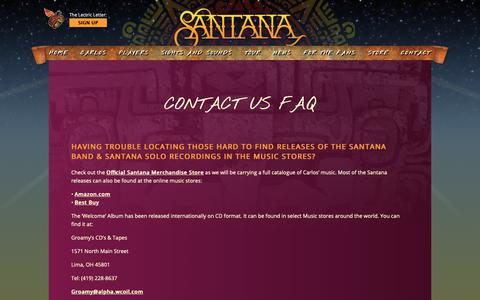 Screenshot of FAQ Page santana.com - Contact us FAQ | Santana - captured Sept. 29, 2018