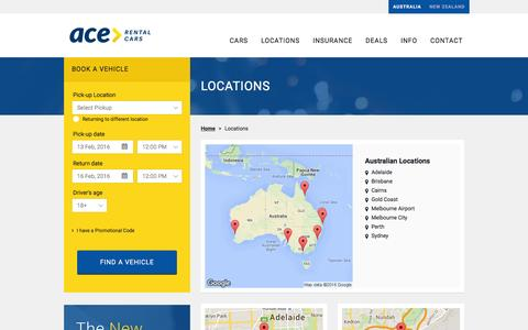 Screenshot of Locations Page acerentalcars.com.au - Cheap Car Hire in Australia - Ace Rental Cars AU & NZ | Ace Rental Cars - captured Feb. 12, 2016