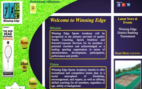Screenshot of Home Page wesports.co.in - Winning Edge - Home - captured Oct. 1, 2014