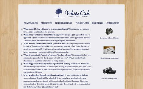 Screenshot of FAQ Page whiteoakva.com - FAQ for White Oak Luxury Apartments in Chester VA - captured Oct. 26, 2014