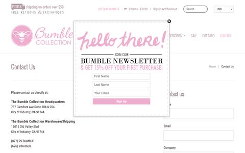 Screenshot of Contact Page bumblecollection.com - Diaper Bags, Baby Bags, Lunch Bags | Bumble Collection - captured Dec. 4, 2016