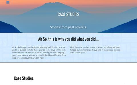 Screenshot of Case Studies Page ahsodesigns.com - Web Development Case Studies - captured July 25, 2016