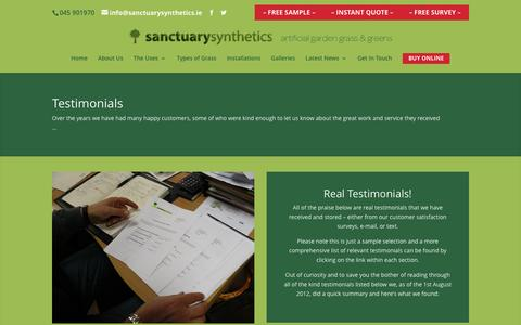 Screenshot of Testimonials Page sanctuarysynthetics.ie - what our customers think | testamonials - captured July 22, 2016