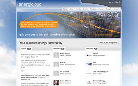 Screenshot of Home Page energicloud.com - energicloud - captured Sept. 30, 2014