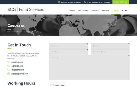 Screenshot of Contact Page scgfundservices.com - CONTACT SCG FUND SERVICES | SCG FUND SERVICES - captured Oct. 1, 2018