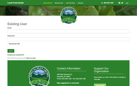 Screenshot of Login Page appalachiangrown.org - ASAP :: Appalachian Sustainable Agriculture Project's Local Food Guide - captured March 5, 2016