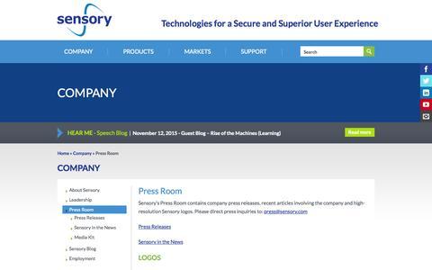 Screenshot of Press Page sensory.com - Press Room | Sensory - captured Nov. 18, 2015