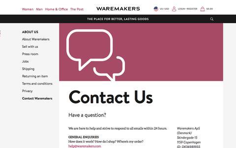 Screenshot of Contact Page waremakers.com - Contact Us | Waremakers - captured July 13, 2018
