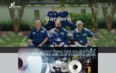 Screenshot of Jobs Page jwaluminum.com - JW Aluminum - captured Sept. 20, 2018