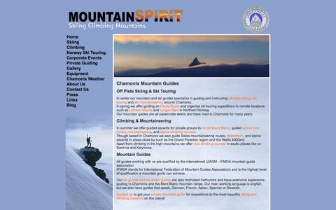 Screenshot of Home Page mountain-spirit-guides.com - Chamonix Ski Guide and Mountain Guide - Mountain Spirit Guides - captured Sept. 30, 2014