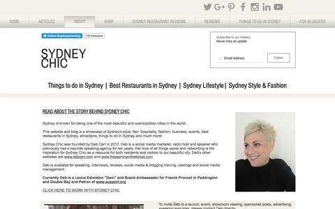 Screenshot of About Page sydneychic.com.au - Sydney Lifestyle Blog: Things to do in Sydney - captured Jan. 13, 2017