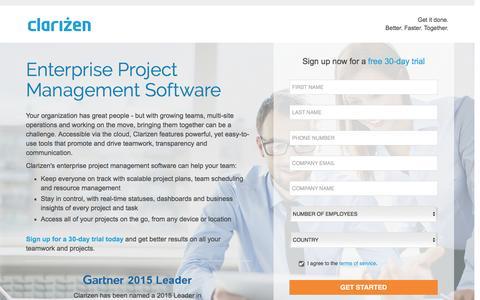 Screenshot of Landing Page clarizen.com - Enterprise Project Management Software l Clarizen - captured May 11, 2016