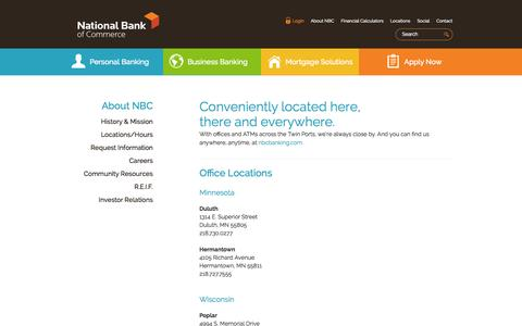 Screenshot of Locations Page nbcbanking.com - National Bank of Commerce - About National Bank of Commerce - Locations/Hours - captured Oct. 27, 2014