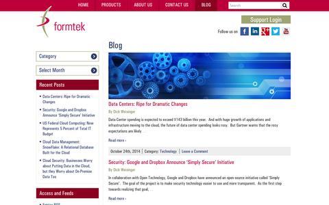 Screenshot of Blog formtek.com - Formtek Blog | Formtek Blog - captured Oct. 27, 2014
