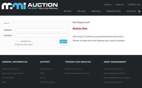 Screenshot of Login Page mmi-direct.com - MMI-Auction - captured Jan. 29, 2018