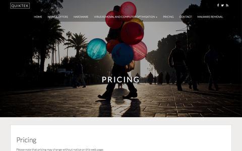 Screenshot of Pricing Page quiktek.co.za - Pricing - QUIKTEK - captured July 15, 2017