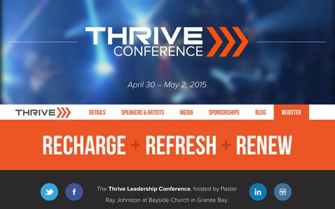 Screenshot of Home Page thriveconference.org - Thrive Conference | April 30 – May 2, 2015 - captured Sept. 30, 2014