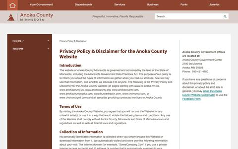 Screenshot of Privacy Page anokacounty.us - Privacy Policy & Disclaimer for the Anoka County Website   Anoka County, MN - Official Website - captured Oct. 24, 2018