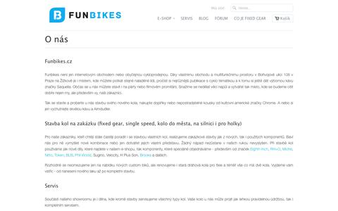 Screenshot of About Page funbikes.cz - O nás                           | FunBikes - captured June 6, 2017