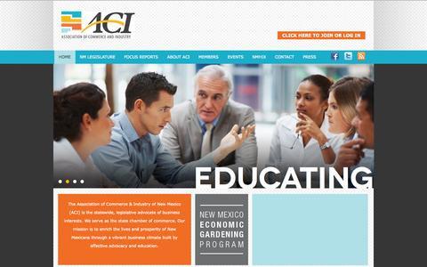 Screenshot of Home Page aci-nm.org - The Association of Commerce & Industry of New Mexico - captured Oct. 4, 2014