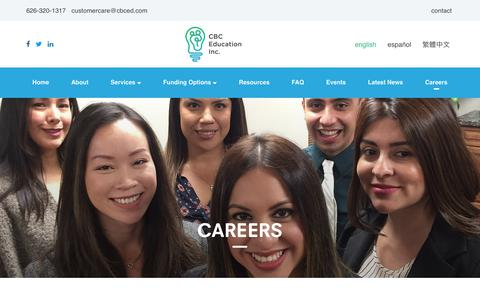 Screenshot of Jobs Page cbceducation.net - Behavior, Social Skills and Floortime Specialist Careers | CBC Education - captured July 7, 2017