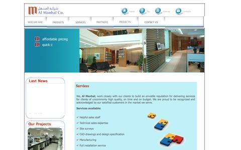 Screenshot of Services Page almanhalco.com.jo - Services - captured Feb. 5, 2016