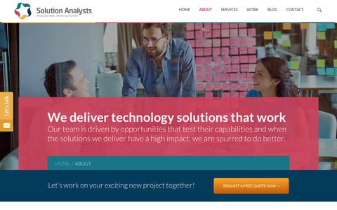 Screenshot of About Page solutionanalysts.com - Company Overview- Solution Analysts - captured Jan. 10, 2016